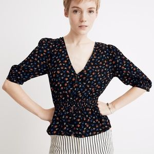 Madewell Smocked-Waist Top in Prairie Posies